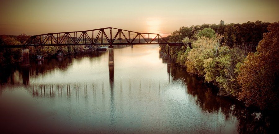 Fall Sunset on the Black Warriror - M&O Railroad Bridge