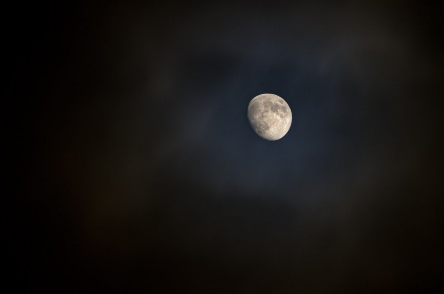 Moon in Clouds Illinois William Woodward