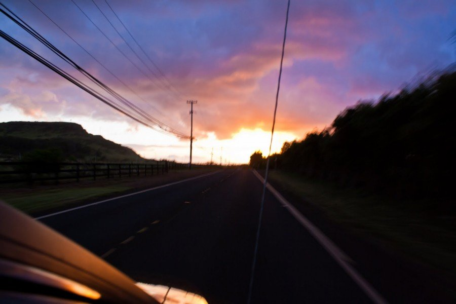 Open Road Sunset Oahu William Woodward