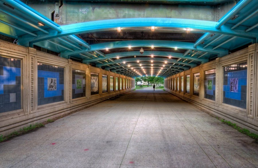 Tunnel Blue Arches Chicago William Woodward