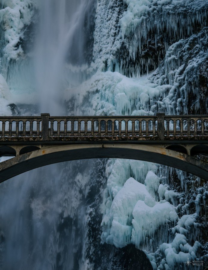 ice waterfall multnomah falls oregon william woodward