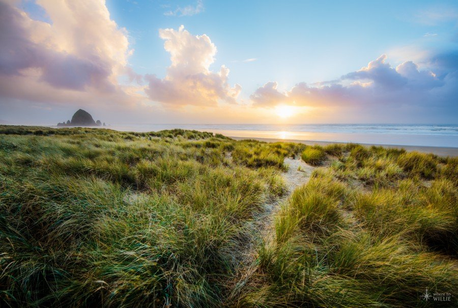 cannon beach haystack rock beautiful sunset william woodward