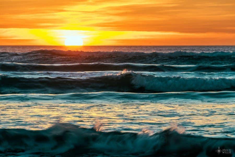 Riding the Waves pacific ocean sunset william woodward