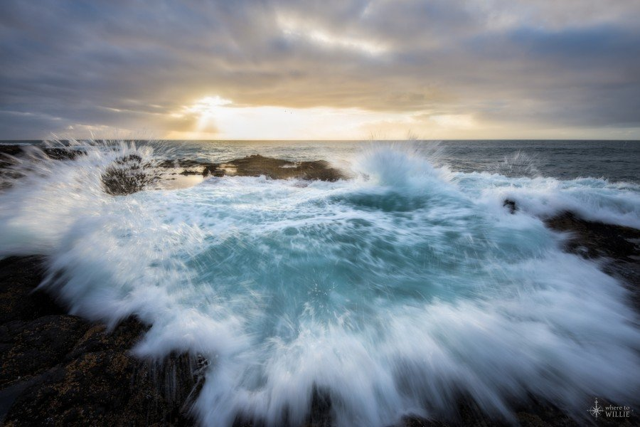 thor's well cape perpetua oregon coast wave sunset william woodward