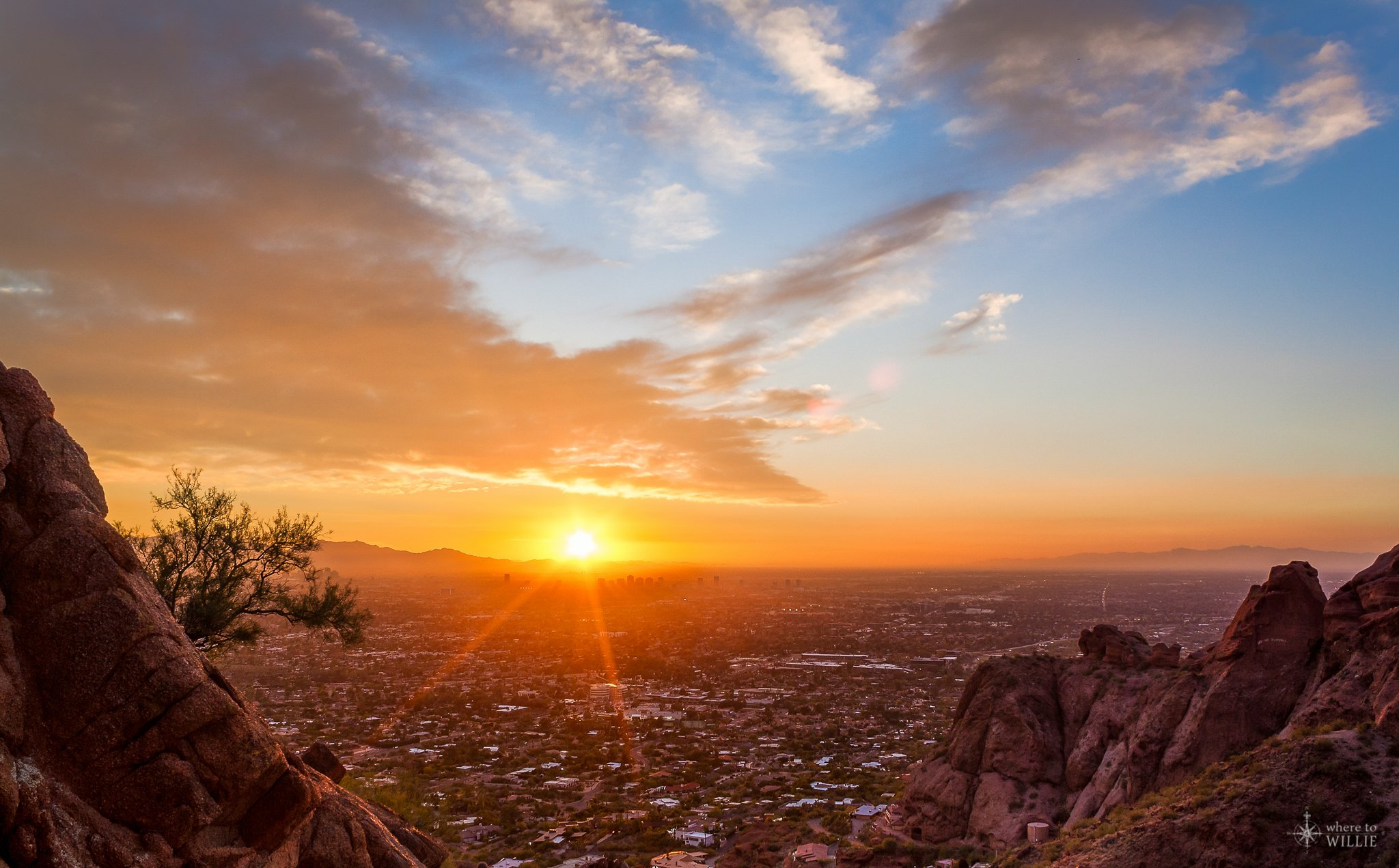 Sunset Burning Over Phoenix Camelback Mountain