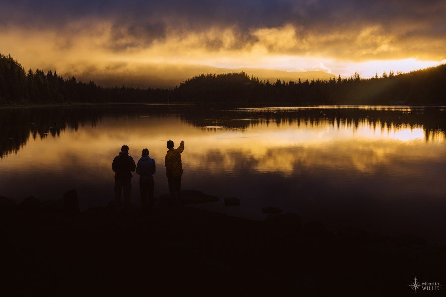 sunrise people clouds trillium lake mt hood oregon william woodward