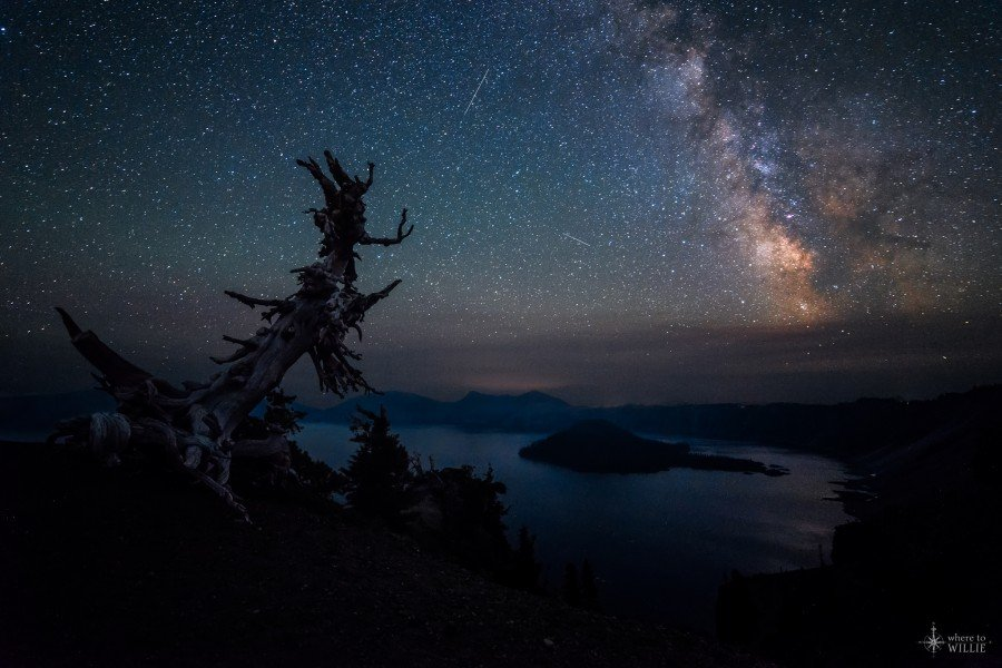 crater lake milky way rise oregon national park william woodward